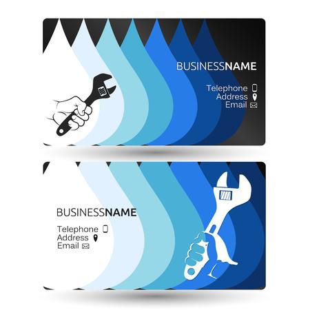 修理やメンテナンスのための配管ビジネス カードの概念  イラスト・ベクター素材