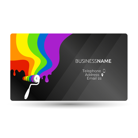 Business card for painting with paint drops. Illustration