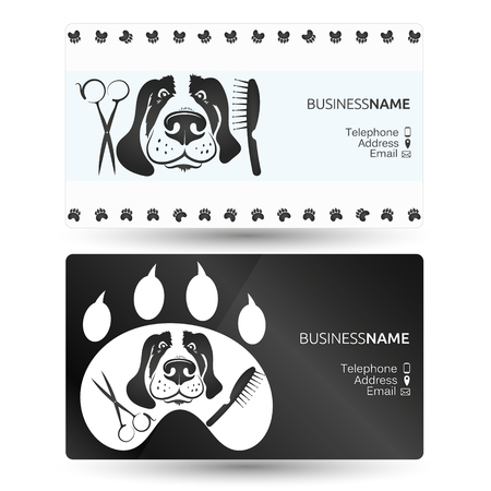 Care for dogs and other animal visiting card.