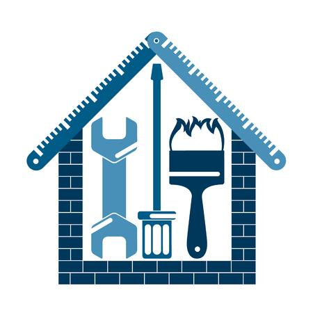 家のシンボル、ベクトルイラストの修復と建設。