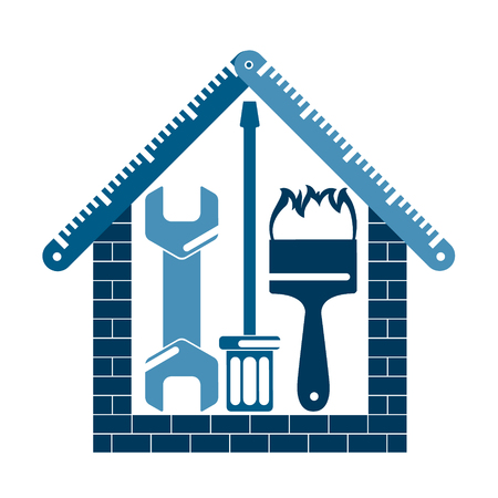 Repair and construction of a house symbol, vector illustration.