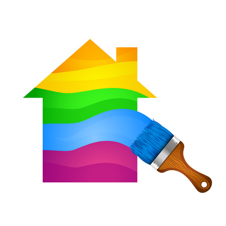 Painting the house with a brush and paints, vector illustration. Ilustração