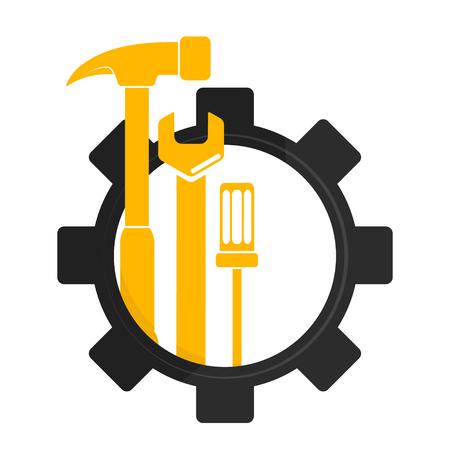 ツールを使用したシンボルの修理とメンテナンス  イラスト・ベクター素材