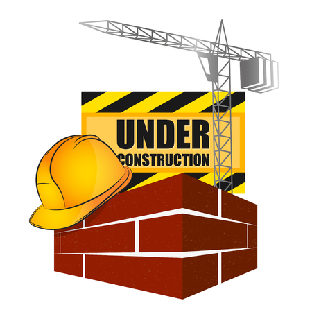 Barrier for construction with tools icon.