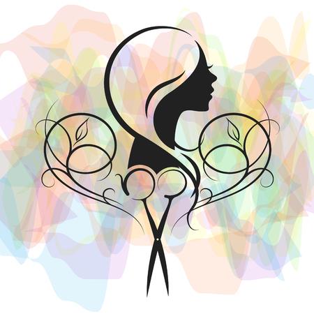 Schönheitssalon und Friseur für Frauensymbol. Vektorgrafik