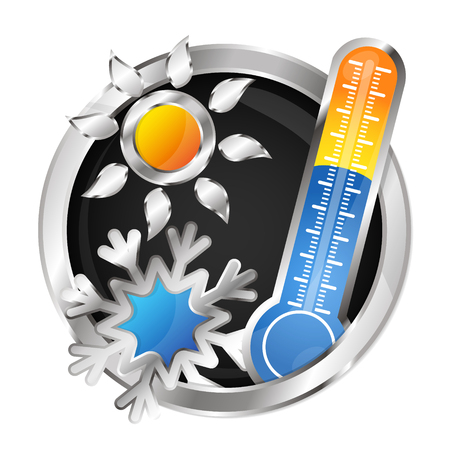 Sun, snowflake and thermometer symbol air conditioner 일러스트