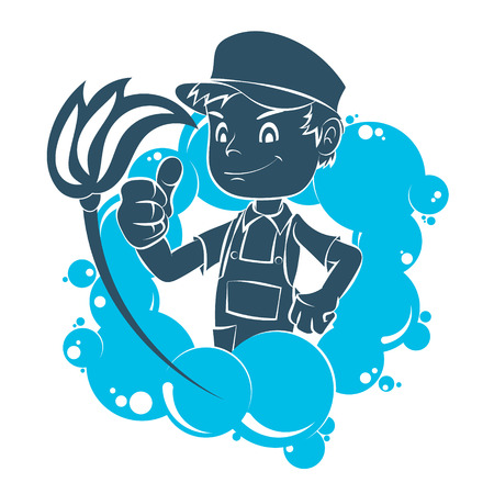 Cleaning worker with tool vector