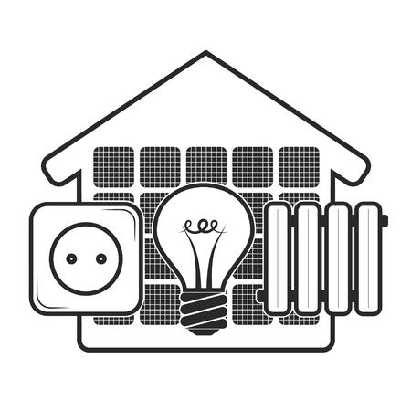 Solar energy for the home eco symbol Ilustração
