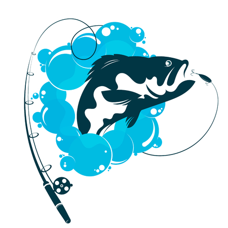 Fish and fishing rod vector symbol Illustration