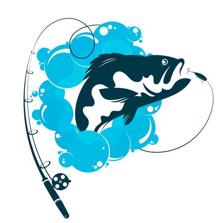 Fish and fishing rod vector symbol Vettoriali