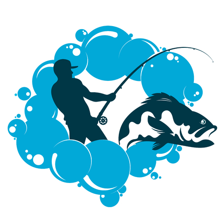 Fisherman with a fish and fishing rod in the water  イラスト・ベクター素材
