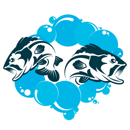 Two fish jump out of the water illustration.