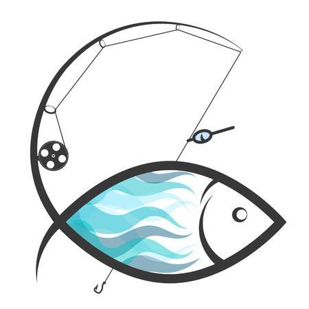 Fish with a pattern and a rod vector illustration. Illustration