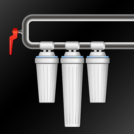 Filters for water and water supply illustration. Иллюстрация