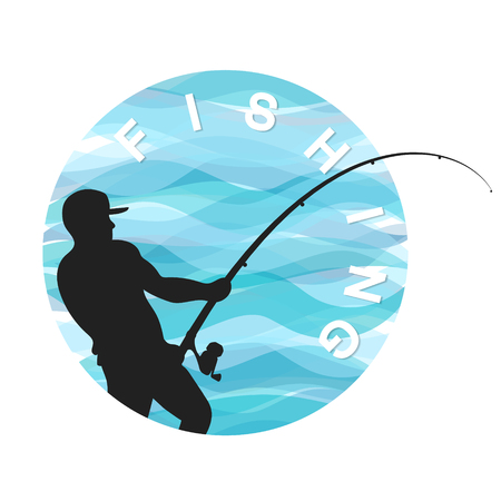 Fisherman with a fishing rod on the background of waves symbol for fishing