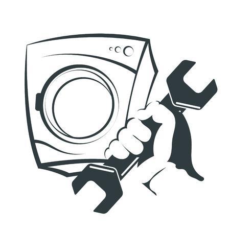 Wrench in hand for washing machine repair