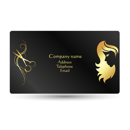 Business card for beauty salon and hairdresser gold on a black business card for beauty salon and hairdresser gold on a black background stock vector colourmoves