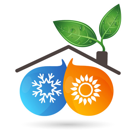 Air conditioning ecology symbol for business with snowflake, sun and leaves. Stock Illustratie