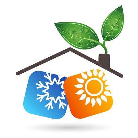 Airconditioner biosymbool voor een vector met sneeuwvlok, zon en bladeren.