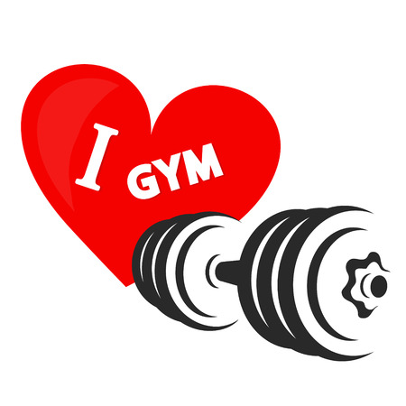 Dumbbell and heart I love the gym