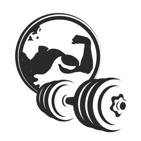 Símbolo con mancuernas para la silueta de gimnasio y fitness