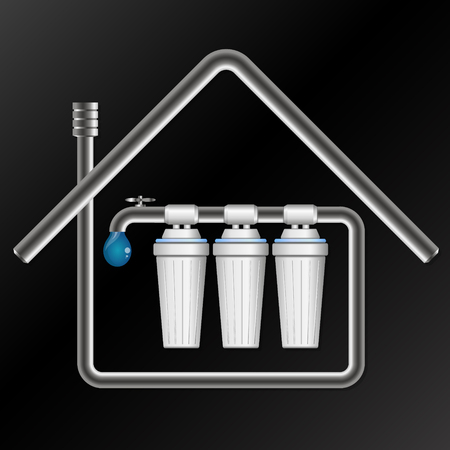 Filtration and cleaning of the water in the house Vektorové ilustrace