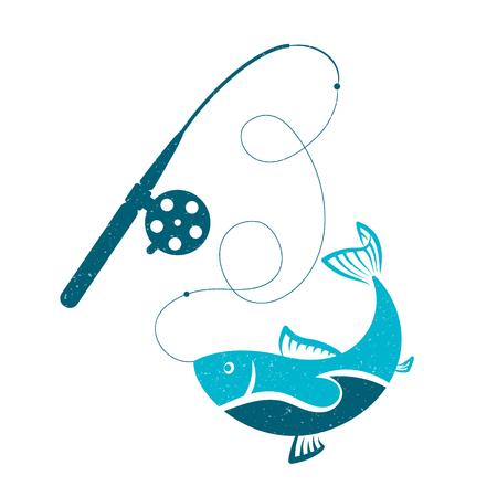 Fish on the hook fishing rod symbol for fishing Illustration