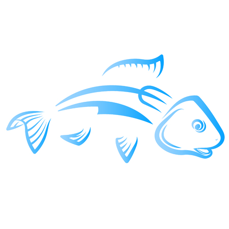 Fish with knife and fork silhouette vector