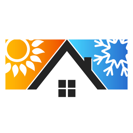 House sun and snowflake for air conditioning Imagens - 95848296