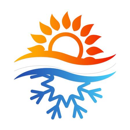 Sneeuwvlok en zonsymbool voor airconditioning Vector Illustratie