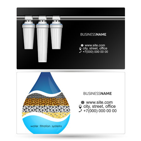Filters for water purification visiting card concepts.