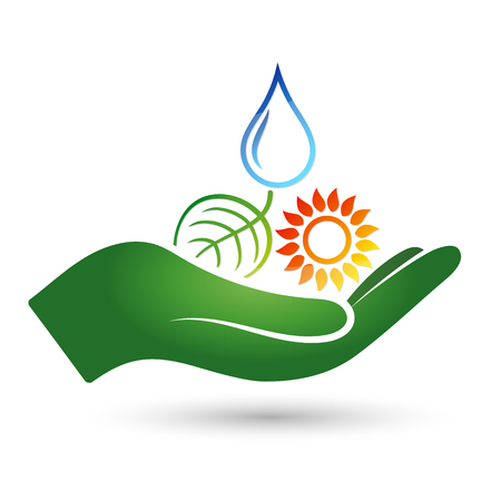 Symbols of alternative energy sources in the hand symbol.