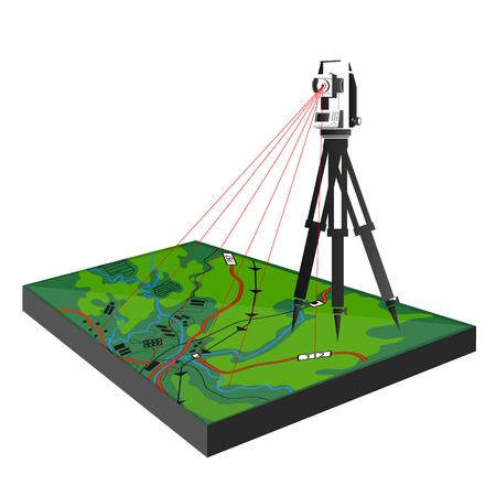 Badania geodezyjne na ilustracji terenowej dla biznesu. Ilustracje wektorowe