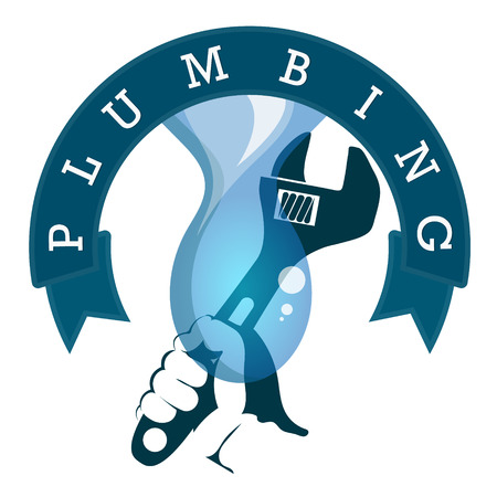 Repair of plumbing and water pipes at home Illustration