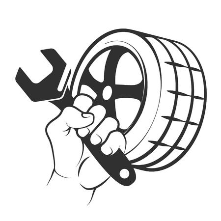 Replacement car tire symbol for body repair vector
