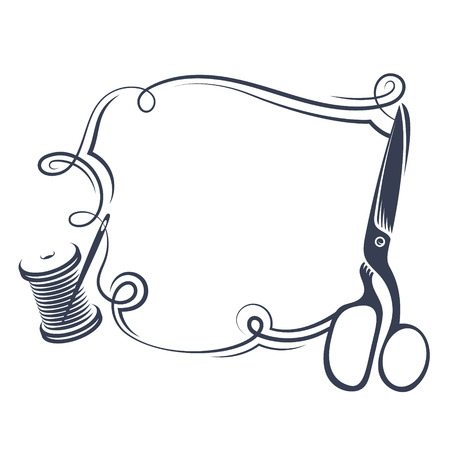 Scissors and thread to sew silhouette vector