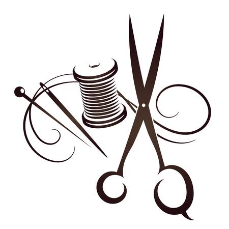 Nożyczki i igła z kompletem nici do szycia