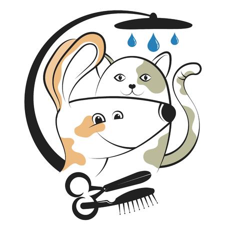Haircut and washing animals character design vector illustration.