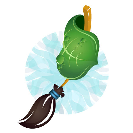 Broom and green leaf for bio cleaning symbol