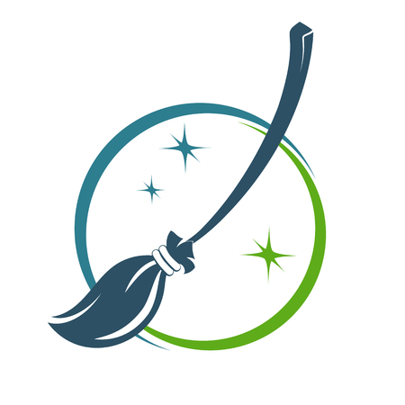 Broom symbol for cleaning business vector illustration