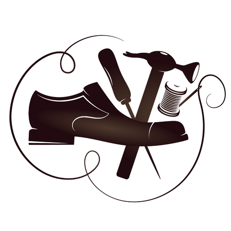 Shoe repair with tool vector silhouette for business Stock Illustratie