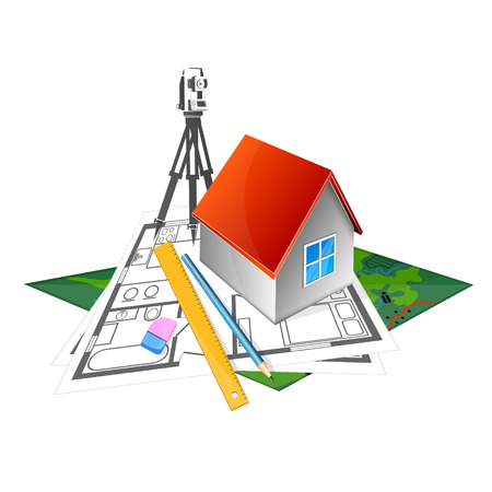 The project to build a house and surveying symbol for business Illustration