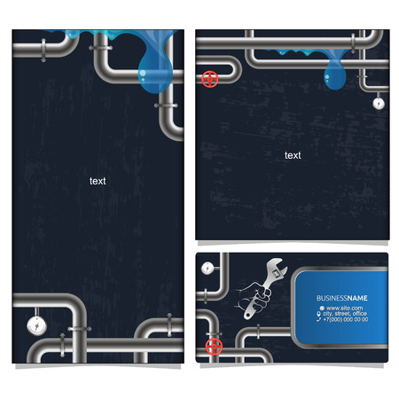 Plumbing and water supply vector banner and business card Çizim