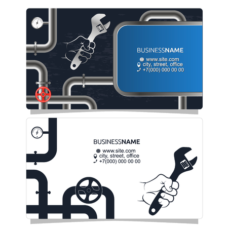 Plumbing and piping repairs and maintenance business card concept.  イラスト・ベクター素材