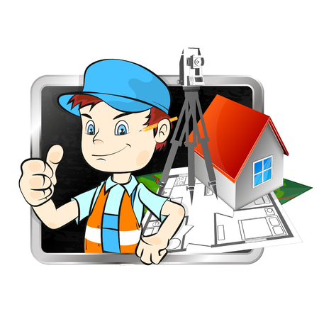 Surveyor with a tool for business illustration Vectores