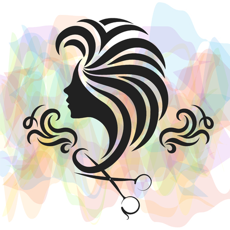 Girl with hair and scissors symbol for beauty salon and hair salon symbol