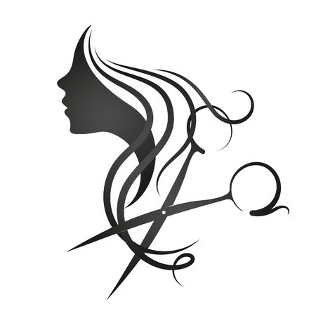 Beauty salon and hairdresser for women symbol 版權商用圖片 - 97450893