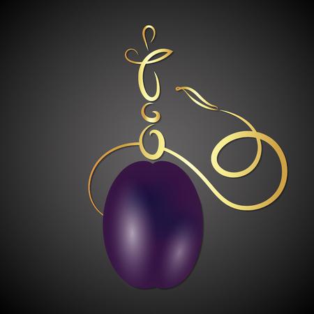 Golden hookah with plum vector