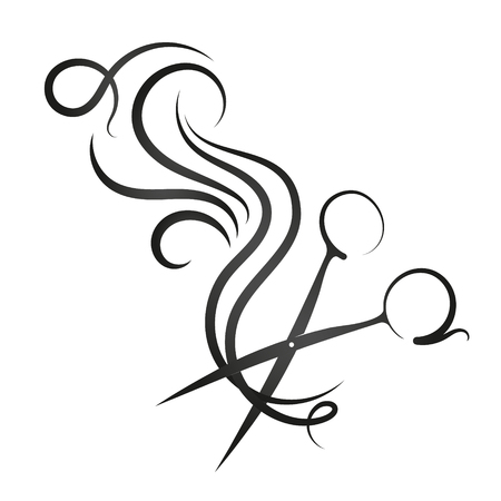Scissors and curl hair symbol for beauty salon