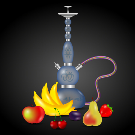 Hookah smoking and set of fruits vector